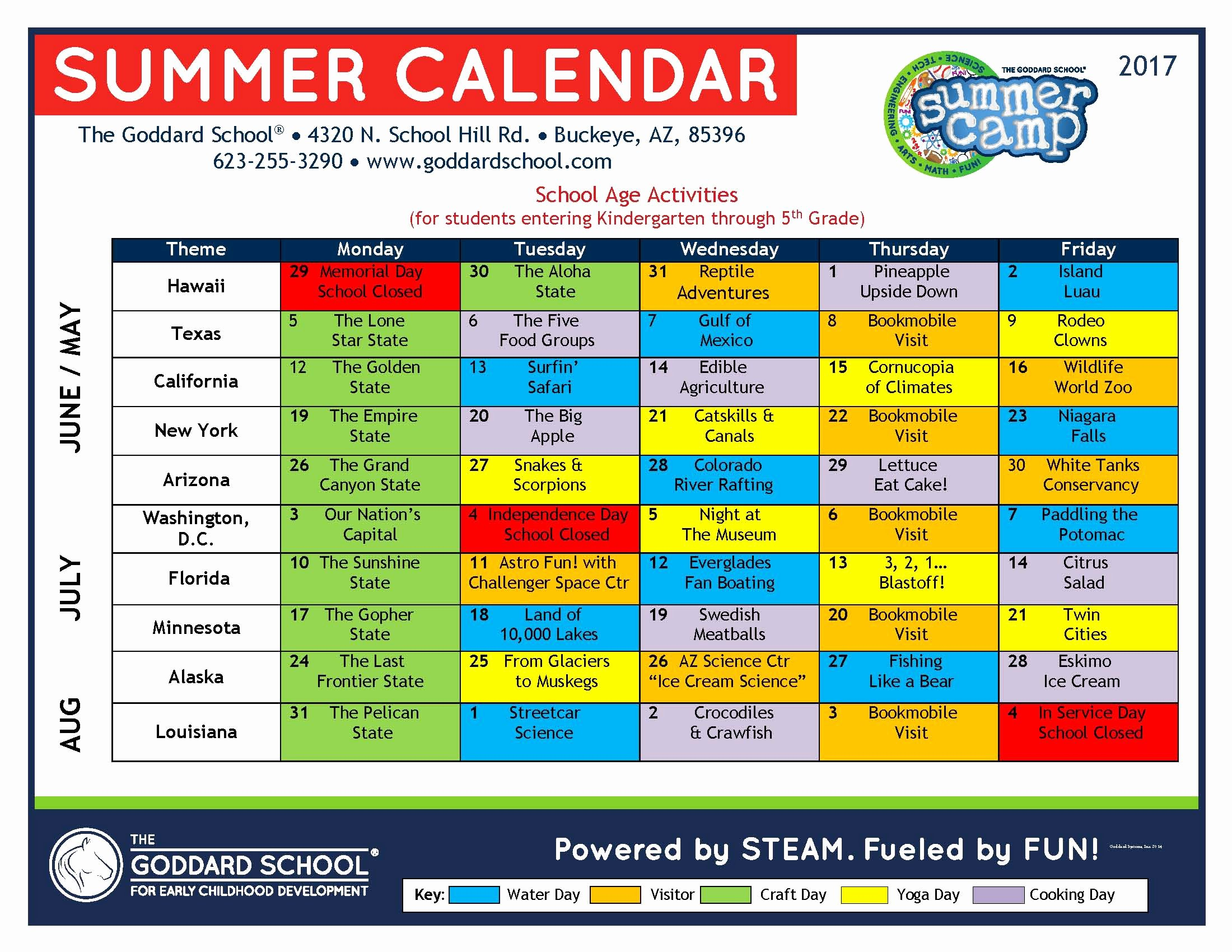 Summer Camp Schedule Templates Fresh Summer Camp Buckeye