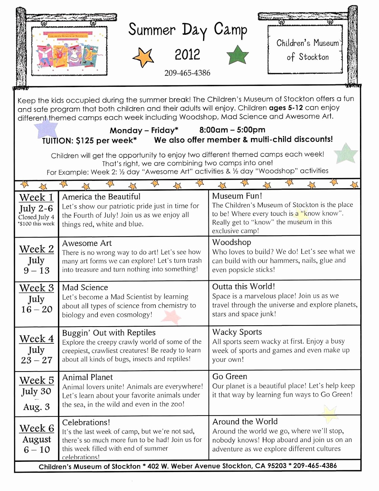 Summer Camp Schedule Templates Inspirational Children S Museum Of Stockton