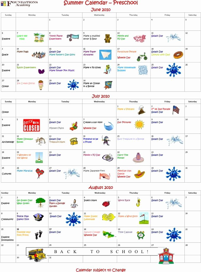 Summer Camp Schedule Templates Inspirational Summer Camp Preschool Calendar now Available Activities for Kids
