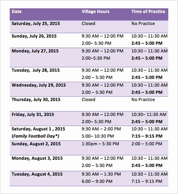 Summer Camp Schedule Templates New 9 Camp Schedule Templates Doc Pdf