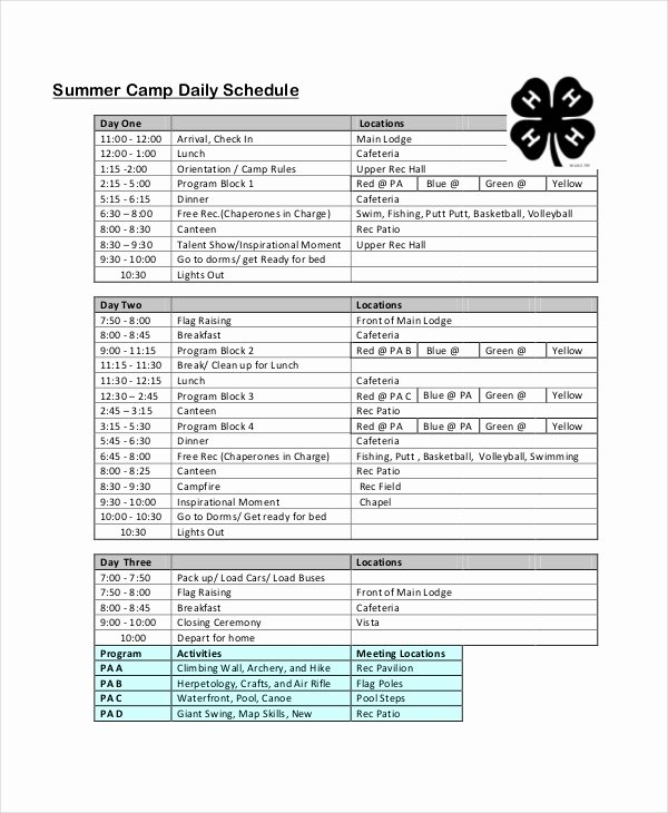 Summer Camp Schedule Templates New Daily Schedule Template 9 Free Word Pdf Documents Download