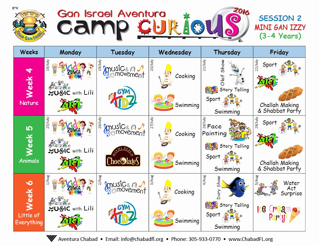 Summer Camp Schedule Templates Unique Camp Schedule Aventura Chabad
