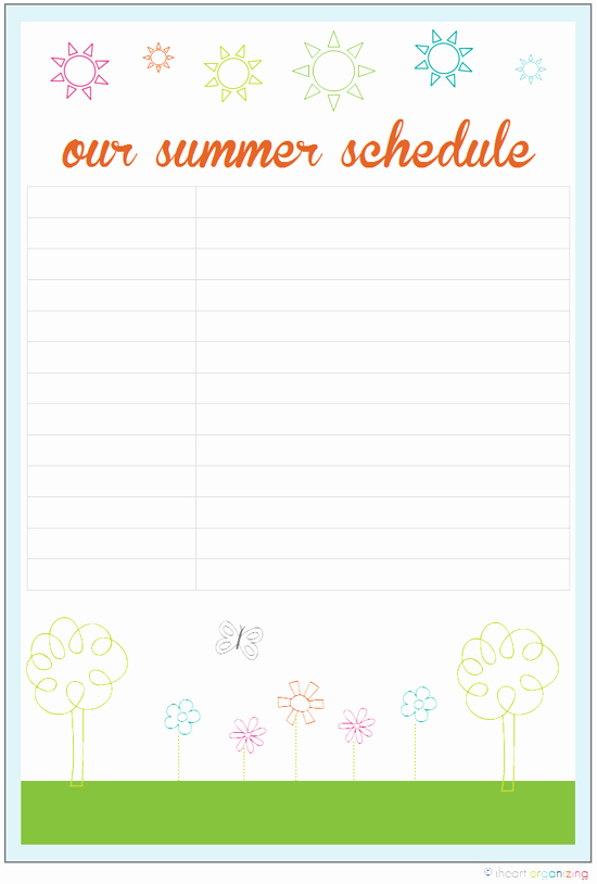 Summer Camp Schedules Template Awesome Poyel Summer Schedule Charts