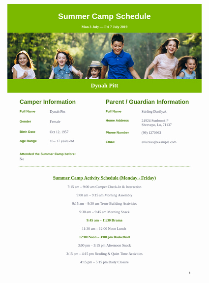 Summer Camp Schedules Template Best Of Summer Camp Schedule Template Pdf Templates