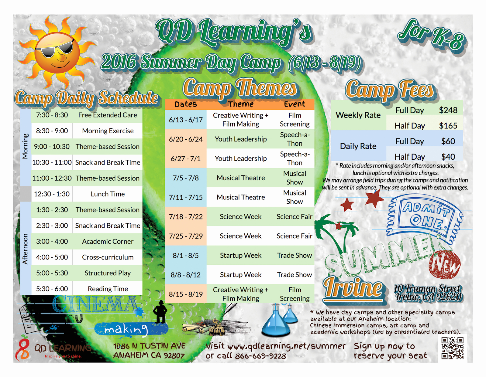 Summer Camp Schedules Template Lovely 2016 Summer Camp for K 8 In Irvine Qd Learning