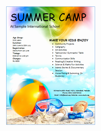 Summer Camp Schedules Template Luxury Summer Camp Flyer