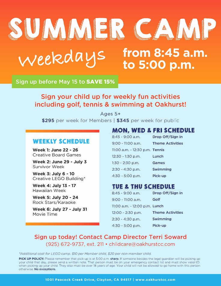 Summer Camp Schedules Template Unique 17 Best Images About Summer Camp Marketing Ideas On Pinterest