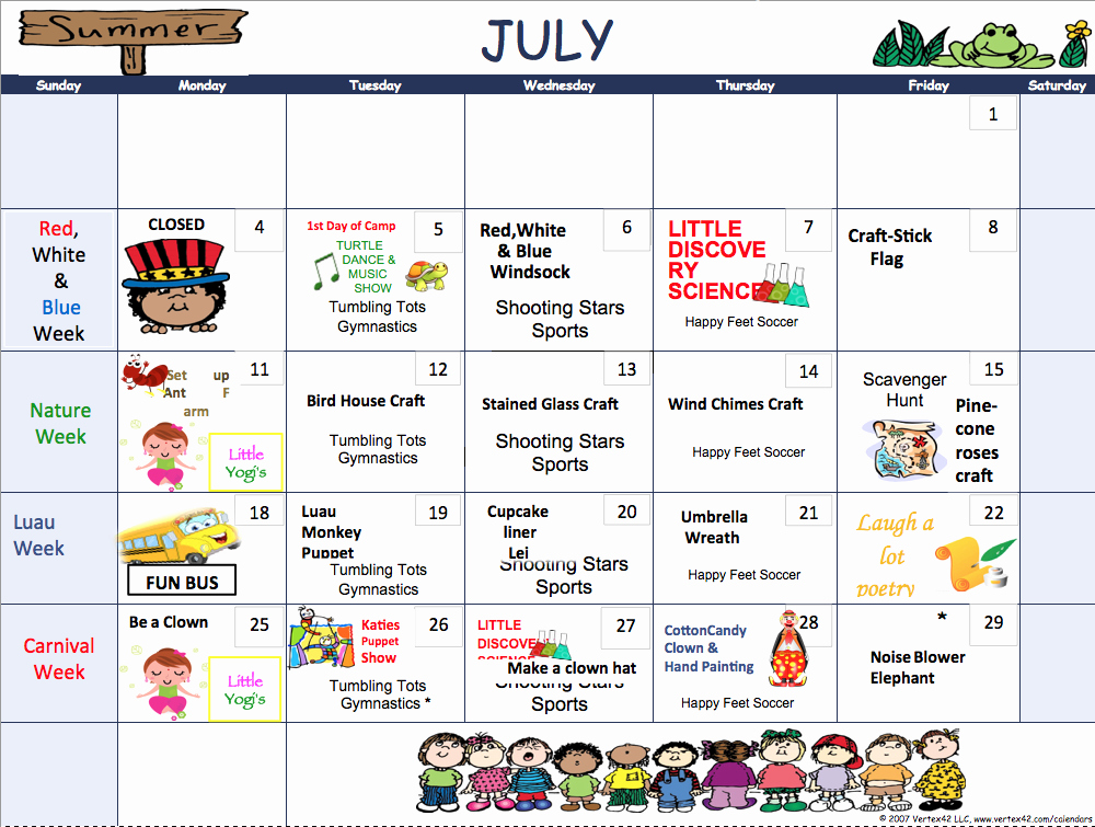 Summer Camp Schedules Template Unique Summer 2016 Camp Schedule