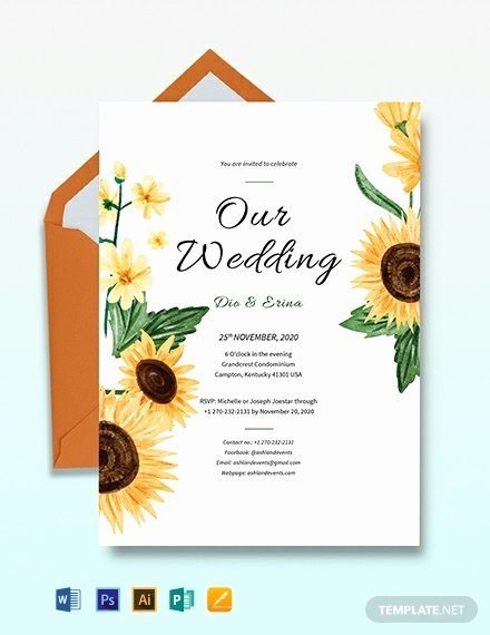 Sunflower Wedding Invitations Templates Awesome 10 Wedding Invitation Templates Illustrator Indesign Ms Word Shop Pages Publisher