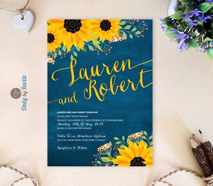 Sunflower Wedding Invitations Templates Awesome Dark Blue Chalkboard Wedding Invitations with Sunflowers