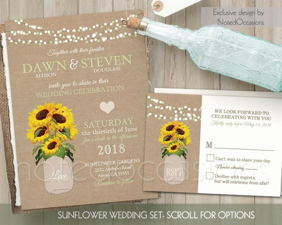 Sunflower Wedding Invitations Templates Awesome Sunflower Wedding Invitation Set Rustic Wedding Invitation Rustic Sunflower Wedding Country