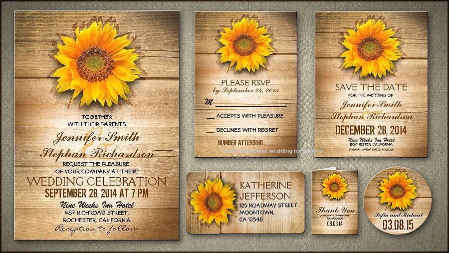 Sunflower Wedding Invitations Templates Awesome Sunflower Wedding Invitation Template