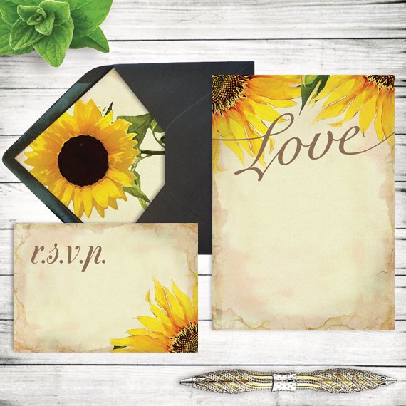 Sunflower Wedding Invitations Templates Beautiful Diy Rustic Sunflower Wedding Invitation Template Printable