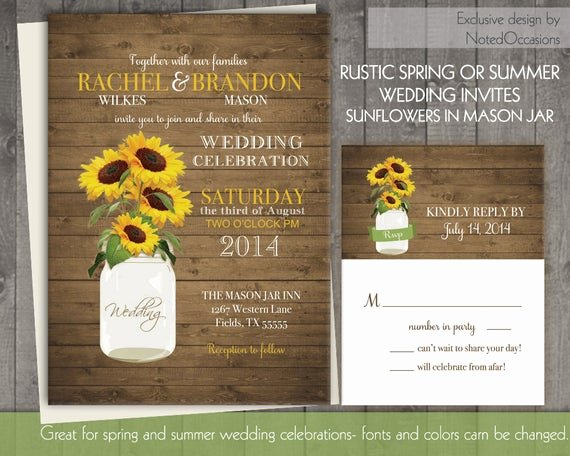 Sunflower Wedding Invitations Templates Beautiful Mason Jar Sunflowers Wedding Invitations
