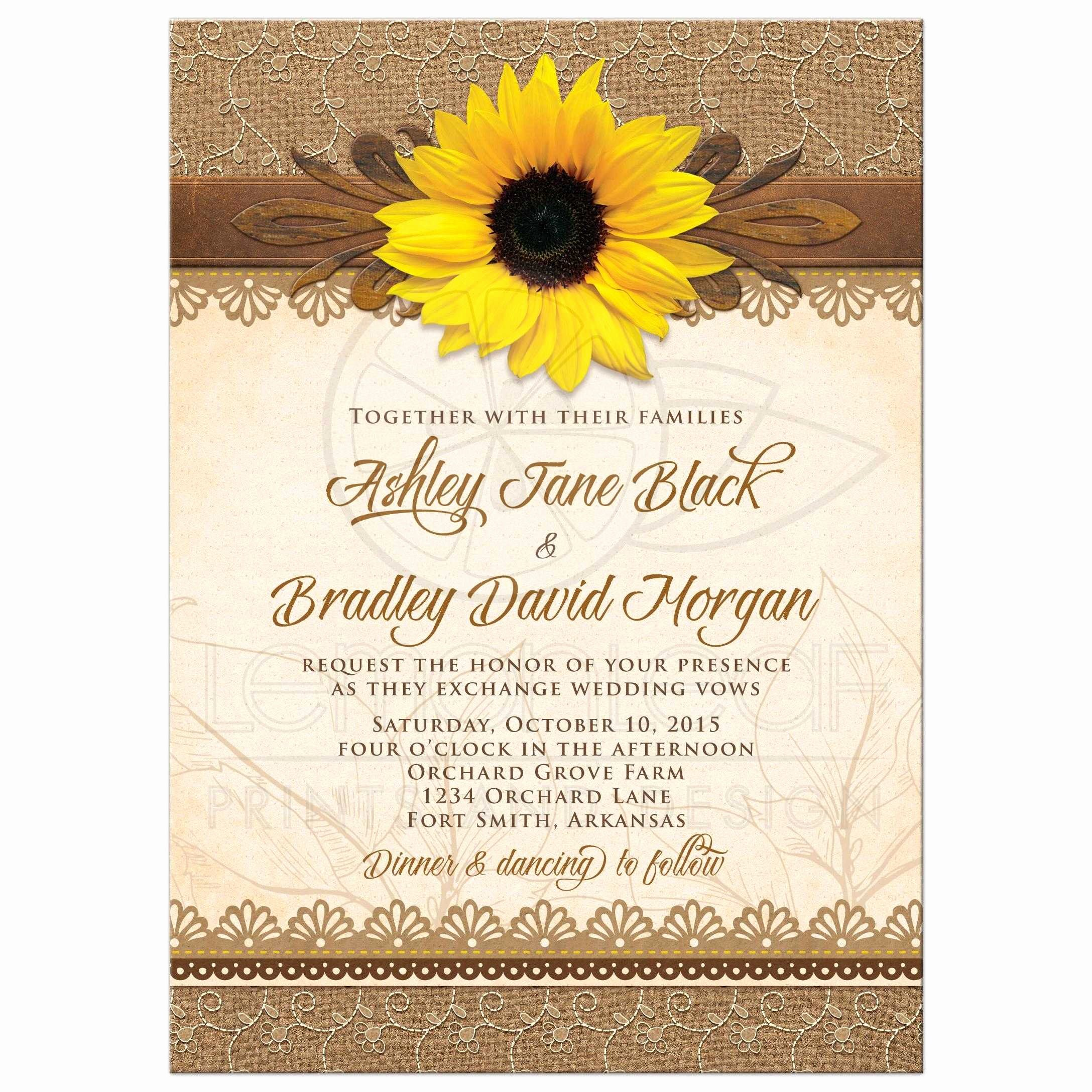 Sunflower Wedding Invitations Templates Beautiful Wedding Invitation Rustic Sunflower Burlap Lace Wood