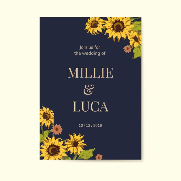 Sunflower Wedding Invitations Templates Best Of Sunflower Wedding Invitation Card Template Vector