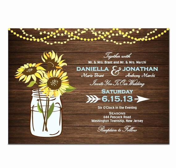 Sunflower Wedding Invitations Templates Elegant Sunflower Wedding Invitation Diy Printable Digital File or