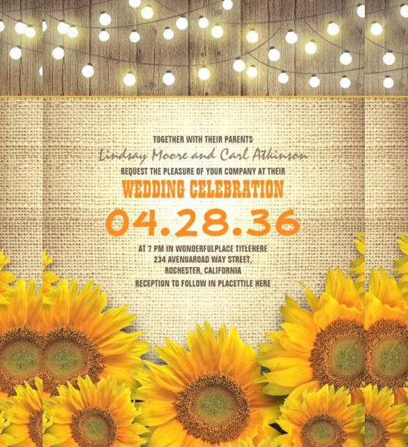 Sunflower Wedding Invitations Templates Fresh 22 Sunflower Wedding Invitation Templates – Psd Ai Word Indesign Pages