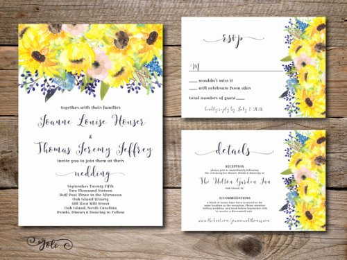 Sunflower Wedding Invitations Templates Fresh Custom Sunflower Wedding Invitations for Your Big Day