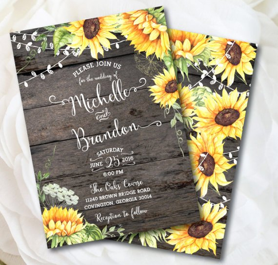 Sunflower Wedding Invitations Templates Inspirational 16 Sunflower Wedding Invitations Perfect for Fall Weddings