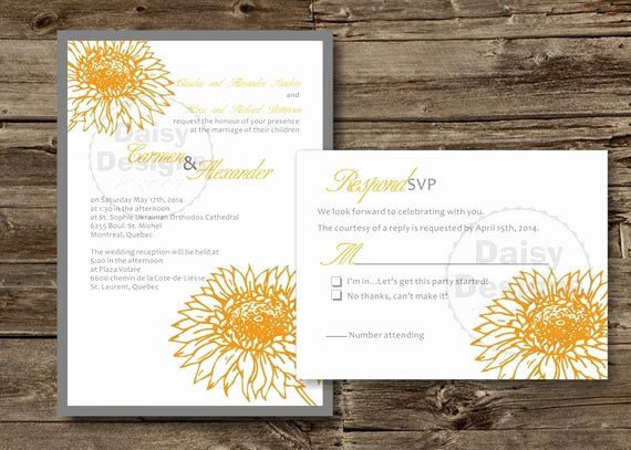 Sunflower Wedding Invitations Templates Lovely Diy Sunflower Wedding Invitation Template Yellow Grey
