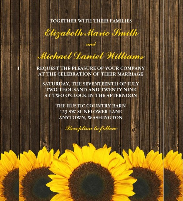Sunflower Wedding Invitations Templates Luxury 22 Sunflower Wedding Invitation Templates – Psd Ai Word Indesign Pages