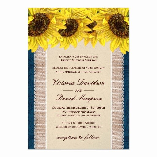 Sunflower Wedding Invitations Templates Luxury Burlap Lace Sunflower Wedding Invitation