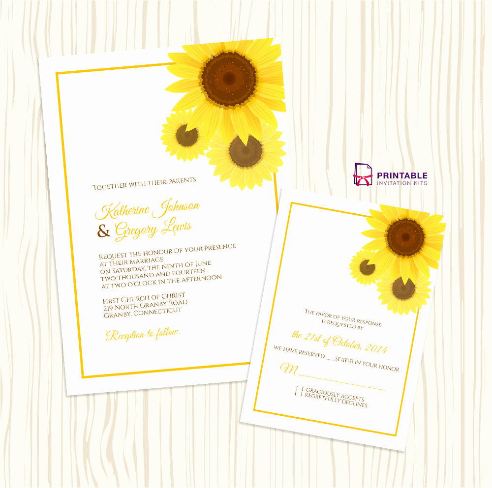 Sunflower Wedding Invitations Templates Luxury Free Pdf Download Sunflower Wedding Invitation and Rsvp Templates Easy to Edit and Print at