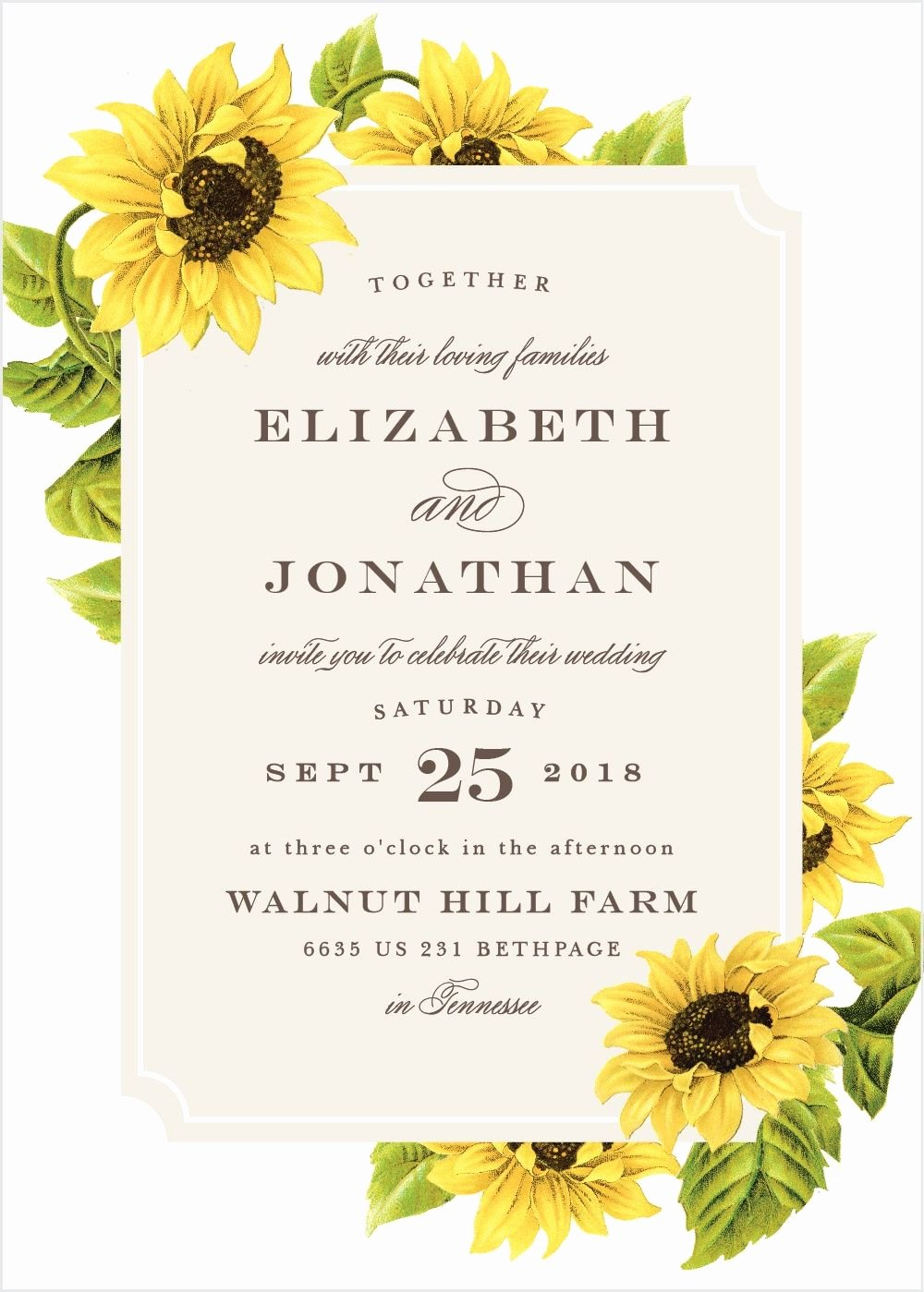 Sunflower Wedding Invitations Templates New Sunflower Frame Wedding Invitations In 2019 Invitation Ideas