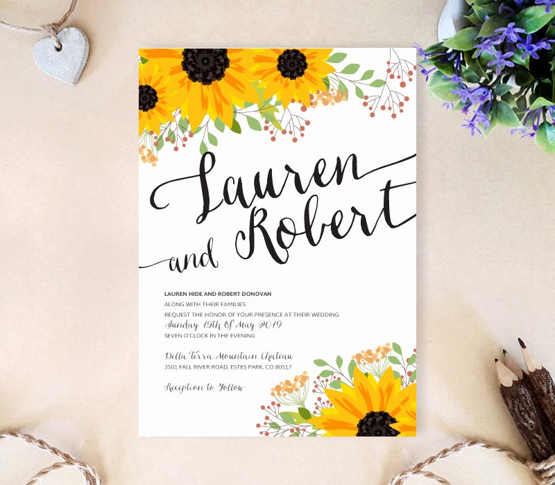 Sunflower Wedding Invitations Templates Unique Sunflower Wedding Invitation Lemonwedding