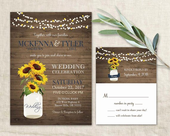 Sunflower Wedding Invitations Templates Unique Sunflower Wedding Invitation Set Rustic Sunflower Wedding