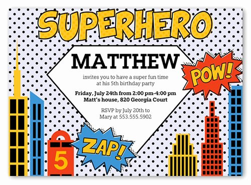 Super Hero Birthday Invitation Awesome Superhero 5x7 Invite Boy Birthday Invitations