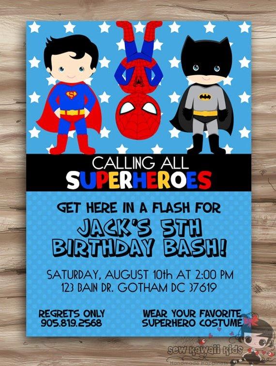 Super Hero Birthday Invitation Awesome Superhero Birthday Invitation Superhero by Kawaiikidsdesign