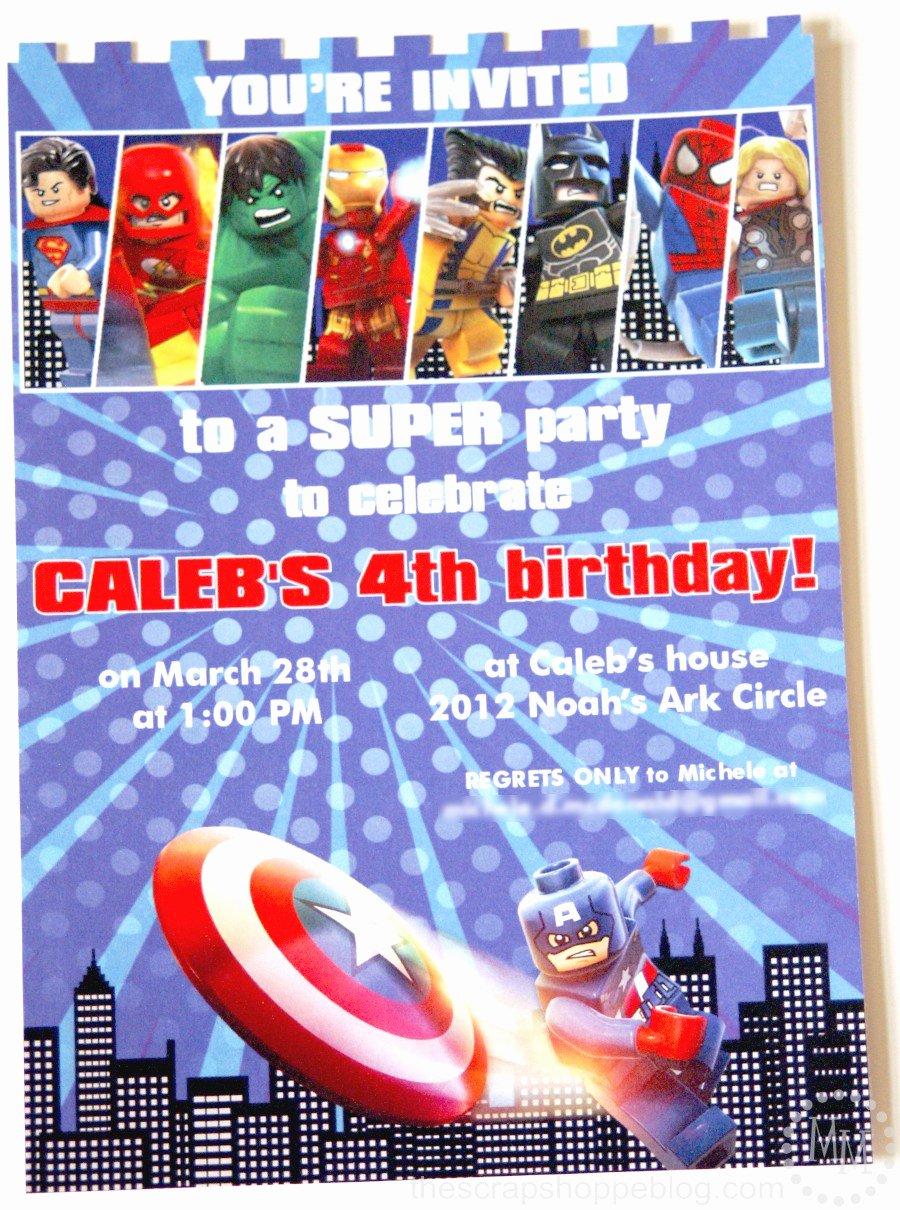 Super Hero Birthday Invitation Best Of Lego Superhero Birthday Invitation the Scrap Shoppe