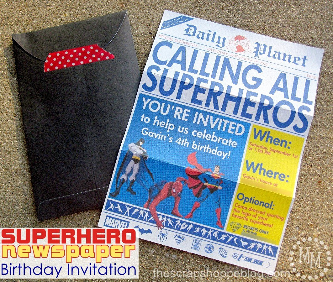 Super Hero Birthday Invitation Best Of Superhero Newspaper Birthday Invitation the Scrap Shoppe