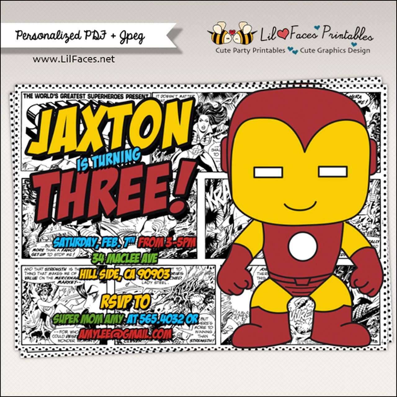 Super Hero Birthday Invitation Inspirational Iron Man Ics Strip Superhero Birthday Party Invitation