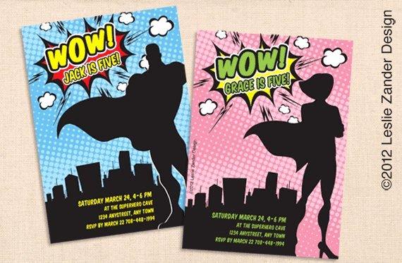 Super Hero Birthday Invitation Luxury Vintage Superhero Personalized Printable Invitation