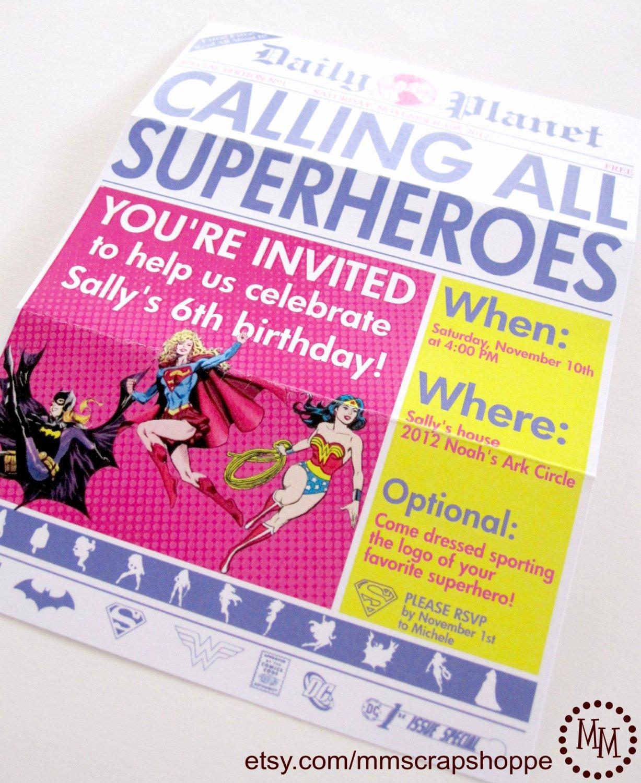 Super Hero Birthday Invitation New Girls Superhero Newspaper Custom Printable Birthday Invitation