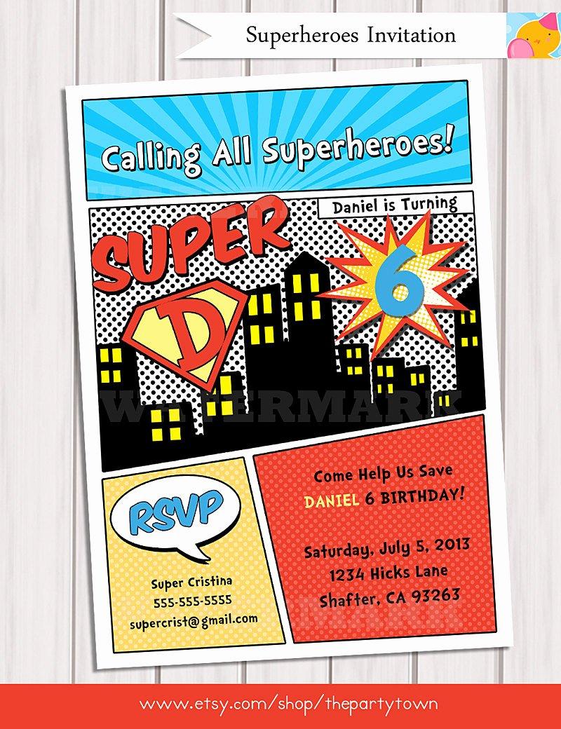 Super Hero Birthday Invitation New Superhero Birthday Party Invitation Personalized Printable