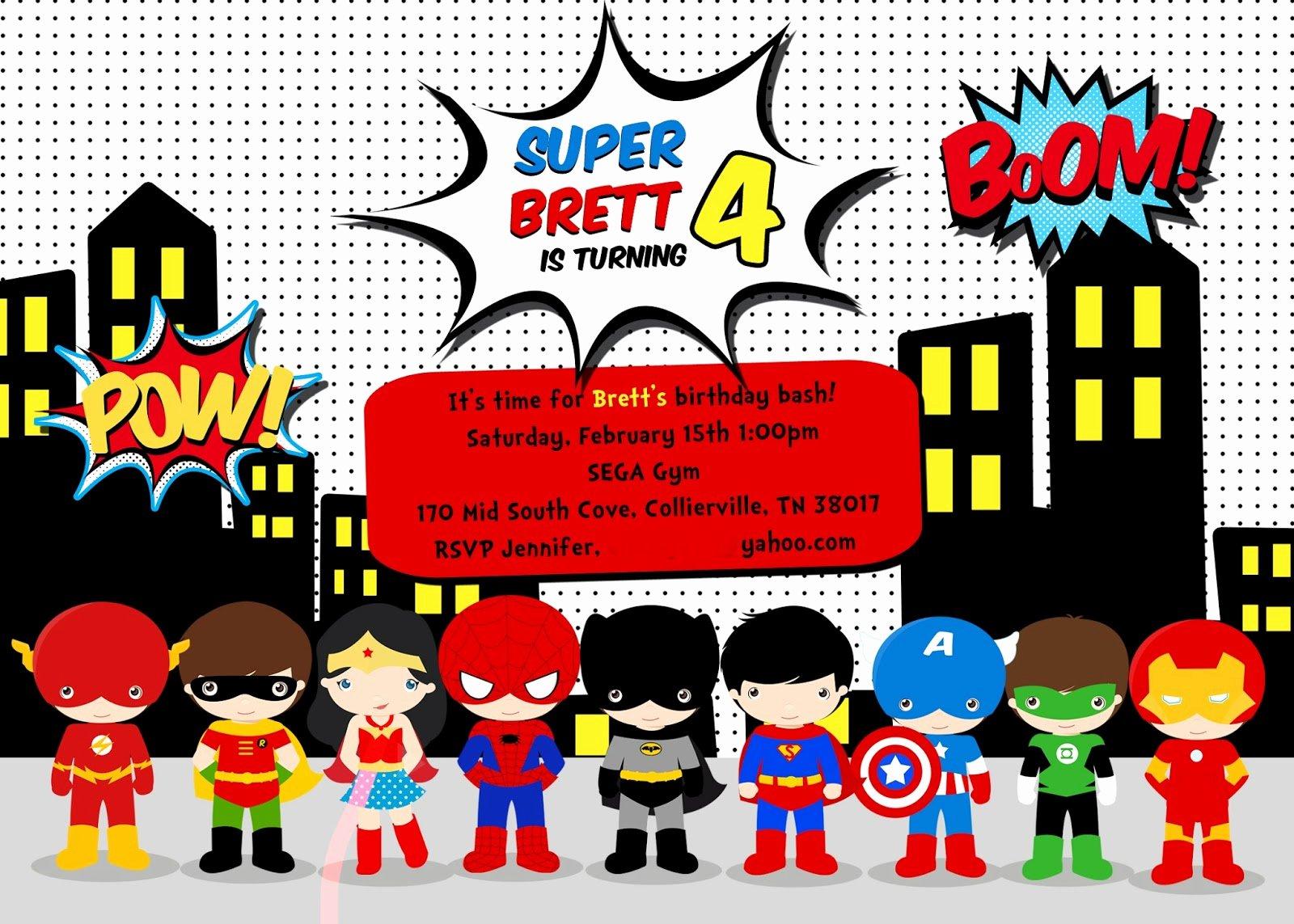 Super Hero Birthday Invitations Awesome Greygrey Designs My Parties Brett S Superhero 4th Birthday Party