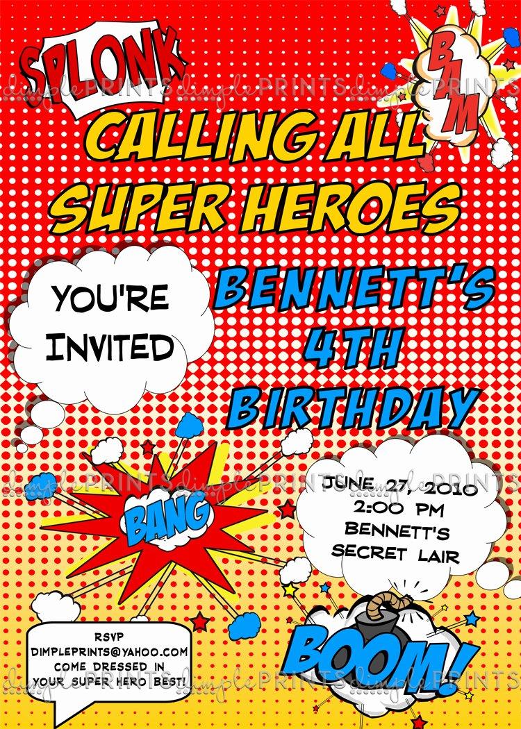 Super Hero Birthday Invitations Beautiful Superhero Ic Printable Invitation Dimple Prints Shop