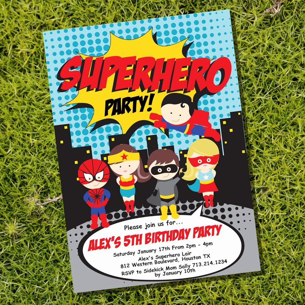 Super Hero Birthday Invitations Beautiful Superhero Party Invitation for A Boy