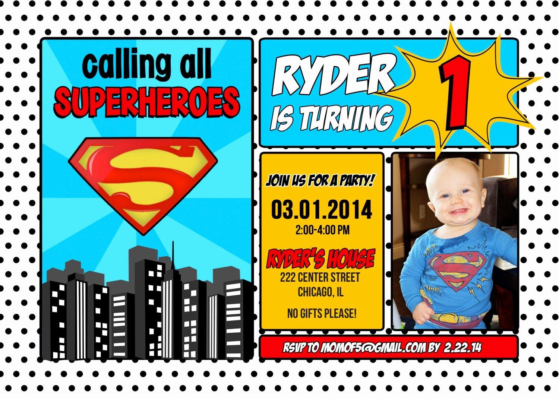 Super Hero Birthday Invitations Fresh Superman Superhero Birthday Invitation 1st 2nd 3rd 4th