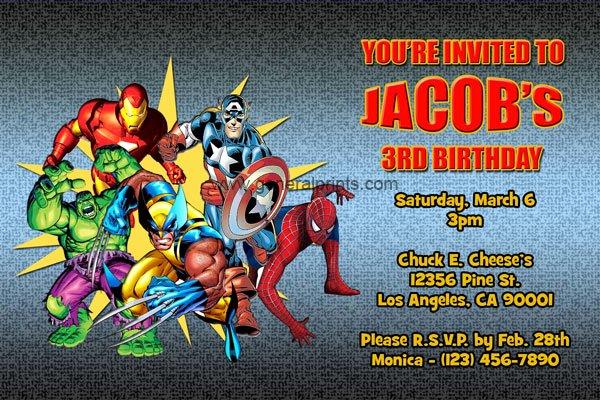 Super Hero Birthday Invitations Inspirational Marvel Superhero Invitations