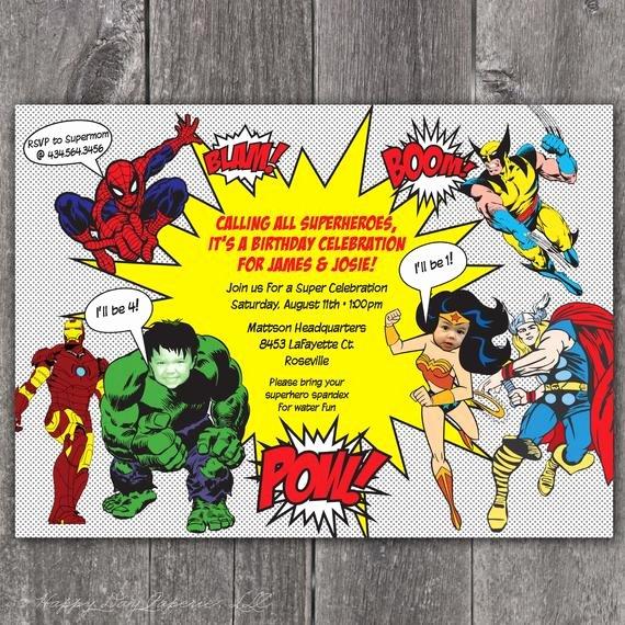 Super Hero Birthday Invitations Inspirational Superhero Custom Digital Birthday Party Invitation