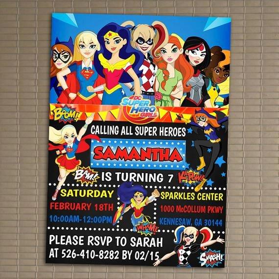 Super Hero Birthday Invitations Luxury Dc Superhero Girls Invitation You Print Invitation Dc