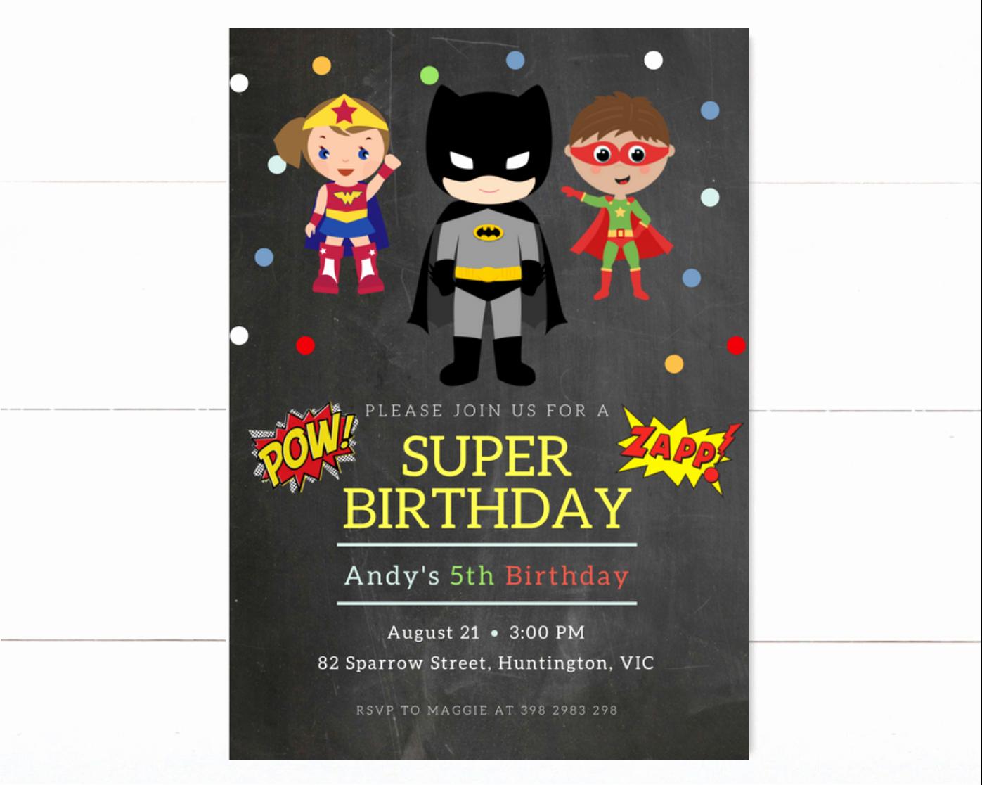 Super Hero Birthday Invitations Luxury Superhero Birthday Invitation