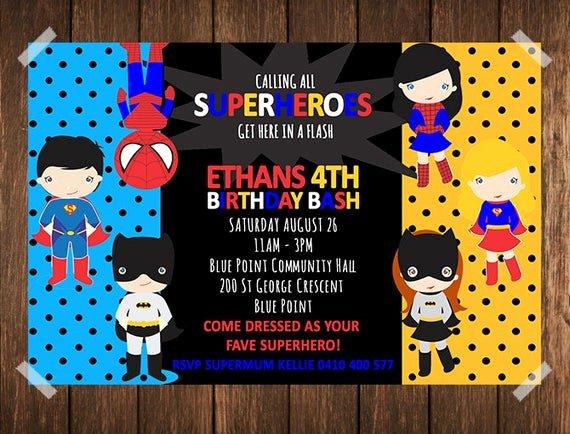 Super Hero Birthday Invitations Luxury Superhero Birthday Invitation Superhero Invitation