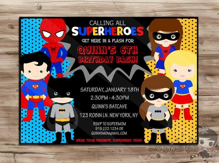 Super Hero Birthday Invitations New Superhero Birthday Invitation Boys and Girls by Sewkawaiikids $10 00