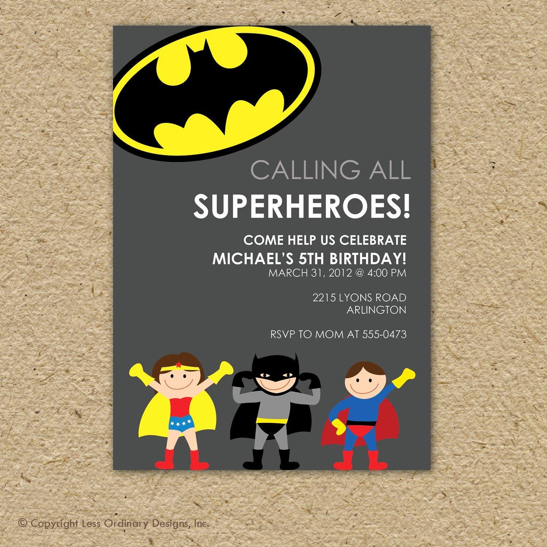Super Hero Birthday Invitations Unique Batman Super Hero Birthday Party Invitation by Saralukecreative